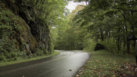 Wet Road of the Blue Ridge Parkway, North Carolina Footage