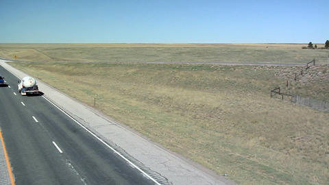 Interstate 25 North of Cheyenne, Wyoming Live Action