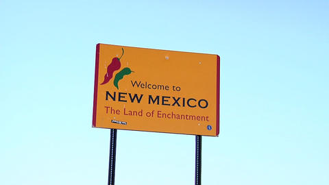 State Border Sign to New Mexico Live Action