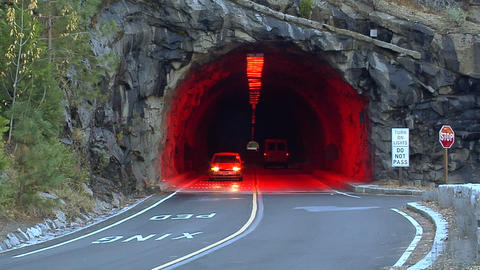 Tunnel inside the Yosemite National Park, California Live Action