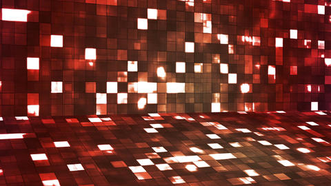 Broadcast Firey Light Hi-Tech Squares Stage, Red, Abstract, Loopable, 4K Animation