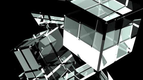 Glass Cubes Abstract On Black Background CG動画素材