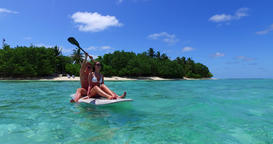 v11374 two 2 people romantic young people couple paddleboard surfboard with Footage