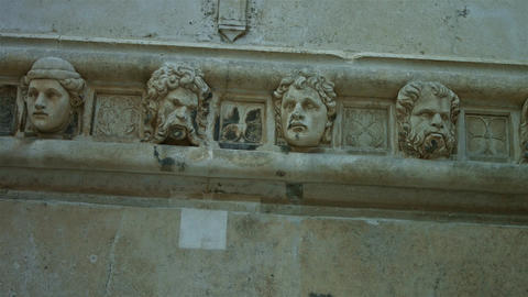 Closeup Of A Sculpture on a wall ledge Footage