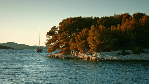 Mountainous coastline. Yachts moored near beach Footage