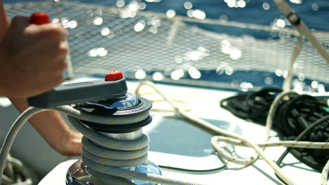 Operating sail winch on a yacht Footage