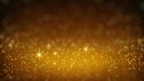 Gold glitter in light rays rendered with DOF seamless loop Animation