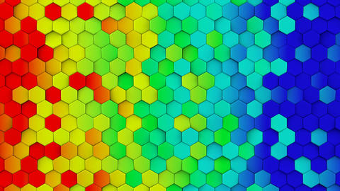 Rainbow gradient hexagons turning loopable 3D animation Animation