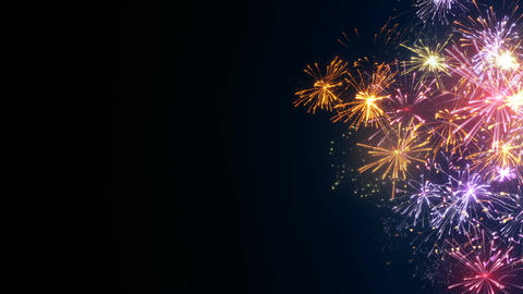 Fireworks on edge and free space holiday animation seamless loop Animation