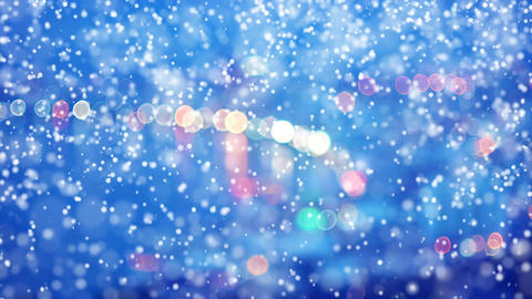 City light blur bokeh and Snowfall seamless loop Animation