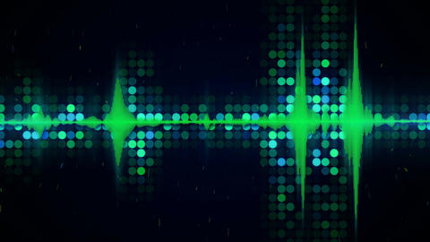 Green audio waveform equalizer techno loopable background CG動画