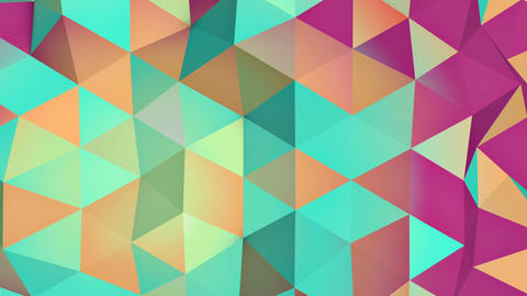 Multicolor low poly 3D surface seamless loop animation Animation