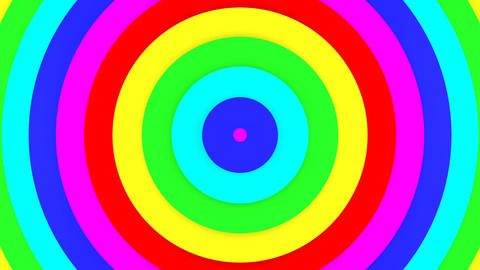 Rainbow color concentric circles 3D animation seamless loop Animation
