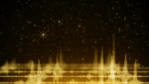 Audio waveform and golden falling sparkles loopable animation Animation