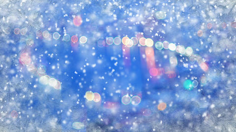 Blurred City lights through frozen window and snowfall loop 動畫