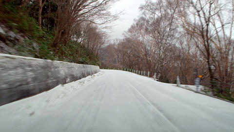 Video driving winter snow road. Route 292 in Shiga plateau around maruike lake Live Action