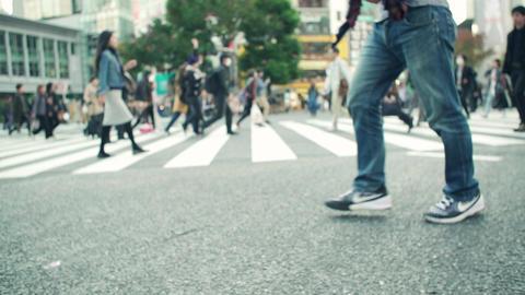 intersection, walking, traffic jam, crosswalk, tokyo, shibuya, japan, blur Live Action