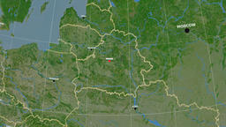 Zoom-in on Belarus outlined. Satellite Animation