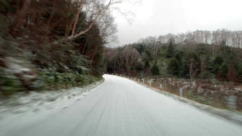 Video driving winter snow road. Route 292 in Shiga plateau around kidoike lake Live Action