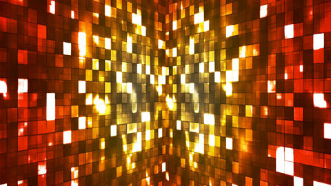 Broadcast Firey Light Hi-Tech Squares Walls, Red Yellow, Abstract, Loopable, 4K Animation