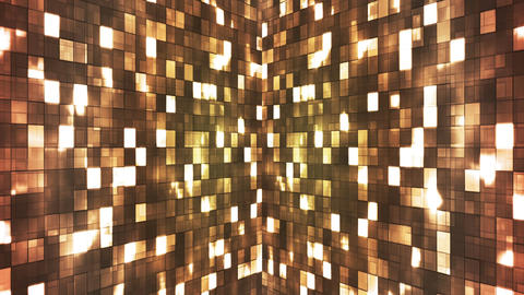 Broadcast Firey Light Hi-Tech Squares Walls, Brown, Abstract, Loopable, 4K Animation