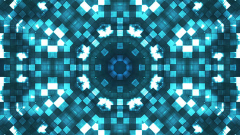 Broadcast Firey Light Hi-Tech Squares Kaleidoscope, Blue, Abstract, Loopable, 4K Animation