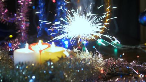 Christmas sparkle. New Year lights flash. Festive fireworks Footage