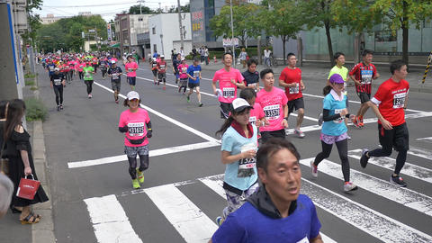 Hokkaido Sapporro Japan 20th of August 2017 Marathon Runners from all over the Footage