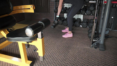 Fitness woman doing exercise with dumbbells Footage