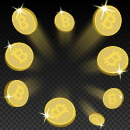 Crypto currency golden coin bitcoin on transparent background. Vector Vektorgrafik