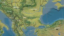 Zoom-in on Bulgaria outlined. Topographic GIF