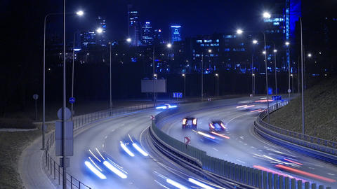 Time Lapse of Busy Freeway Traffic at Night in Vilnius, Lithuania Footage