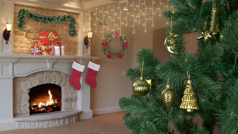 House living room decorated for Christmas celebrate. Christmas holiday eve Footage