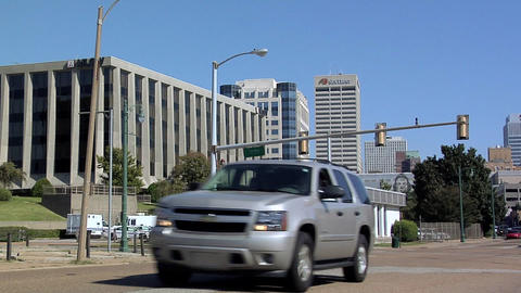 Police Station on Second Street corner Linden Street, Downtown Memphis, Tennesse ビデオ
