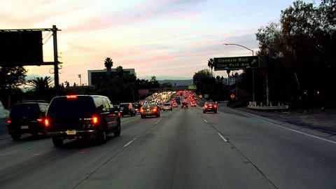 POV on Hollywood Freeway 101 early Evening in Los Angeles Stock Video Footage