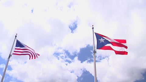 American and Puerto Rico Flags Footage