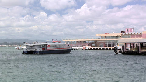 Cross Harbor Ferry departing from the Old San Juan Pier Live Action