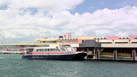 Cross Harbor Ferry arriving at the Old San Juan Pier Live Action