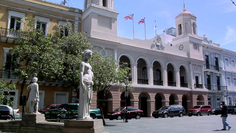 Fountain and the San Juan City hall (Casa Alcaldia) at Plaza de Armas Footage