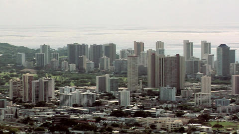 Birds Eye View in the Afternoon of Down Town, Honolulu, Hawaii Footage