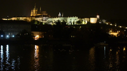 night city - Prague, Czech Republic - Prague Castle (Hradcany) - lamps (lights)  Footage