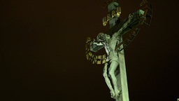 crucified jesus christ - night - lights Footage