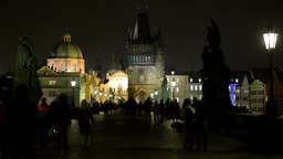 night city (buildings) - night charles bridge with people walking - lights Footage