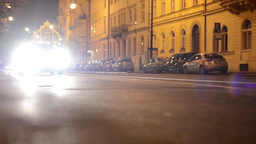 night city - night street with cars - lamps - car headlight - timelapse Footage