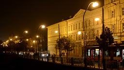 night city - night street with people and cars - lamps - building exterior night Footage