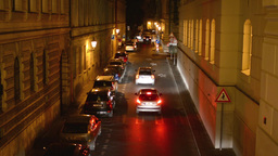 night city - night street with cars - lamps - car headlight - exterior house nig Footage