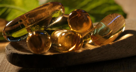 Omega-3 Vitamins and supplements health food pills for healthy lifestyle Footage
