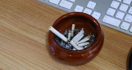 Ashtray In Smoke On The Desk stock footage