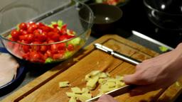 man prepares salad - man sliced cheese Footage