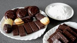 cookies (sweets) - chocolate wafers - sugar Footage